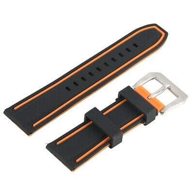 Rubber Watch Band 22/24mm Black Bracelet Waterproof Silicone Strap Spring Bars