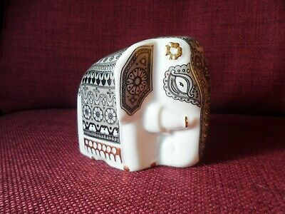 Ceramic Mlesna Elephant Tea Caddy - Black/White/Grey and Gold. (bA).