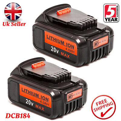 2XReplace Dewalt DCB182 DCB184 18V 4.0Ah XR Li-Ion Battery To Fit DCB181 DCD780