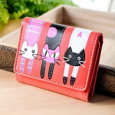 Women's Girls Cartoon Cat Wallet Short Zipper Fashion Purse PU Leather Purse LA