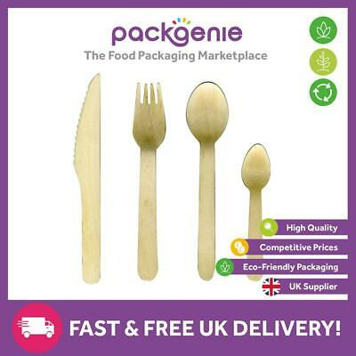 100 X Premium Wooden Cutlery, Knives, Forks, Spoons, Teaspoons BBQ PARTY EVENT