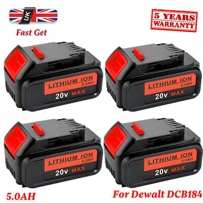 4X Replace Dewalt DCB182 DCB184 18V 5.0Ah XR Li-Ion Battery To Fit DCB181 DCD780