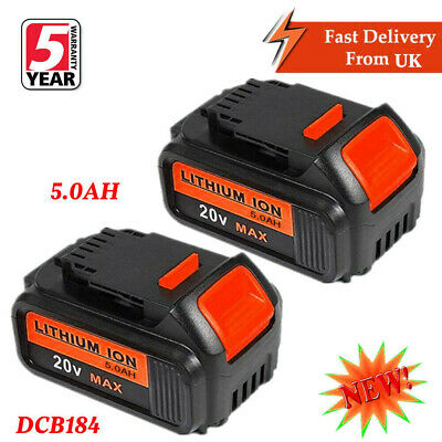2X Replace Dewalt DCB182 DCB184 18V 5.0Ah XR Li-Ion Battery To Fit DCB181 DCD780