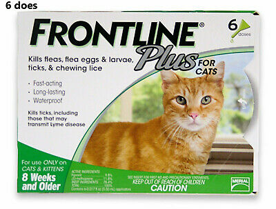 Frontline Plus Flea and Tick Control for Cats and Kittens, 6 Doses Free Shipping
