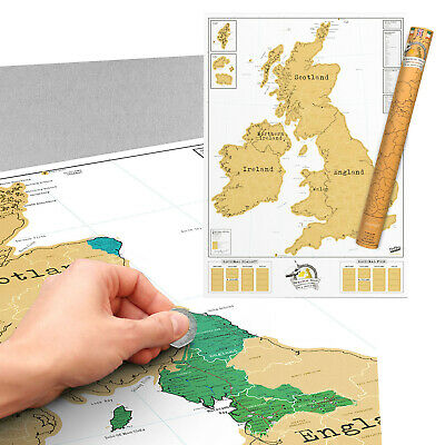 UK Ireland Wall Map Poster Scratch Off Coloured Art England Travel Learning