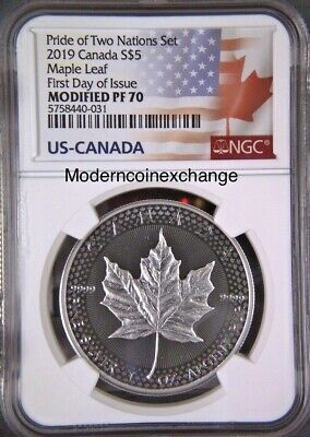 2019 $5 Canadian Modified Maple Leaf  NGC PF 70 Pride of Two Nations  FDOI