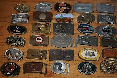 Lot of 30  Vintage Belt Buckles Mac Caterpillar Goodyear Colt Makita & More Wayn