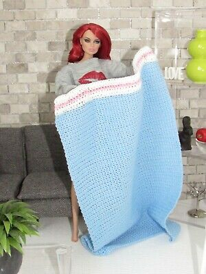 #108 Crochet Blue/Pink/White Throw Blanket FOR/FITS Barbie,Fashion Royalty Doll