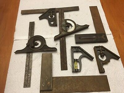 Vintage Industrial Machine Combination Square Parts Lot Rusty Iron Steampunk