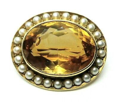 Antique 14K Yellow Gold Citrine & Seed Pearl Oval Vintage Estate Pin Brooch