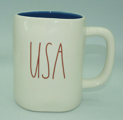 Rae Dunn By Magenta USA Red Large Letter LL Mug With Blue Inside