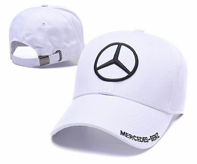New MERCEDES BENZ² Logo AMG Cap Sport Baseball Hat outdoor Adjustable White