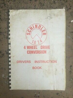 Schindler 4 Wheel Drive Conversion Instruction Book Ford Tractor Manual Rare