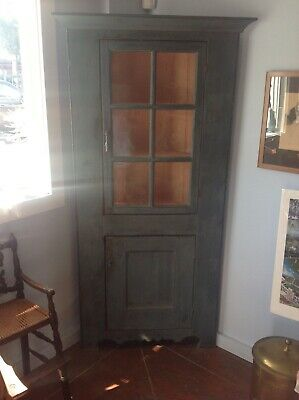 "American Antique 19th C Painted Corner Cupboard Small Size 74"" high. 32 1/2"""