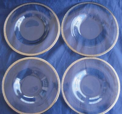 "Antique Crafted 4 Lunch Salad Plates 8.25"" Sterling Silver Rim Clear Glass"