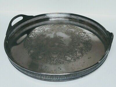 Wilcox Silverplate EPNS International Silver Co Large Round Handled Tray 1937