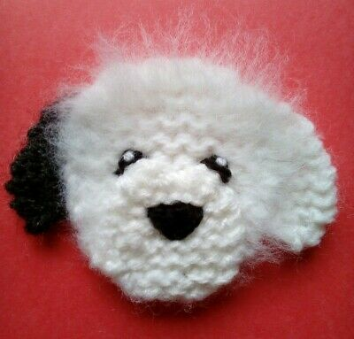 knitted OLD ENGLISH SHEEPDOG pup brooch
