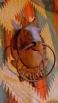 Large CAST IRON Horse Head Mount   W/Ring Hitching Post Barn Towel Holder