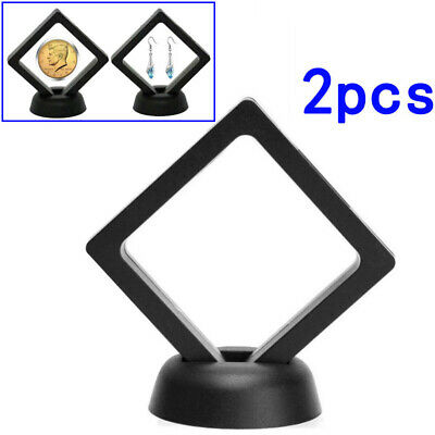 Exhibiting Coin Frame 2pcs Penny 90*90mm Black Plastic 3D Floating Display