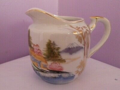Fabulous Vintage Japanese  Kutani Mountain Scene Design Jug Pot 9.5 Cms Tall