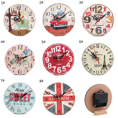 Large Vintage Wooden Wall Clock Rustic Shabby Kitchen Home Decor Antique Style