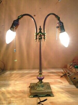 Antique Vintage Hubbell Sockets Signed Cast Iron Brass Double Arm Lamp Part