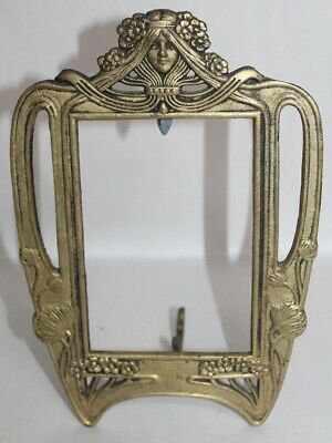 ANTIQUE Art Nouveau LADY Frame HEAVY BRASS