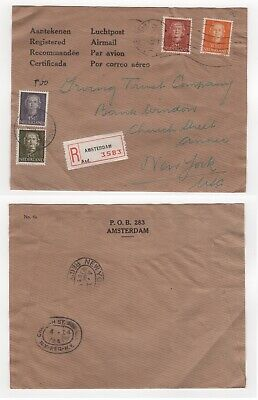 1951 NETHERLANDS Registered Cover AMSTERDAM CENTRAL STATION to NEW YORK USA