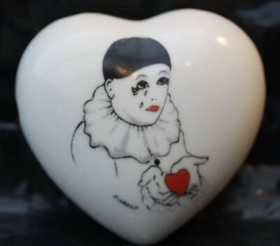 Vintage Heart Shaped Pierrot The Clown Pomander With Tears