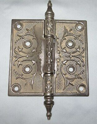 "Antique Ornate Eastlake Cast Iron Door Steeple Hinges 4 1/2"" x 4 1/2"" A"