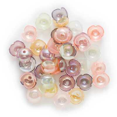 50pcs Acrylic Flower Beads Spacer Bead Caps for Jewelry Headwear Making DIY 19mm