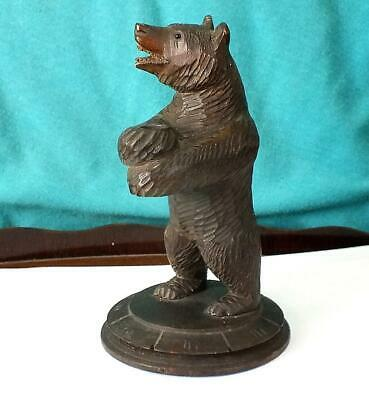 Fine Large Black Forest Carved Bear Standing Pipe Holder / Stand Circular Base