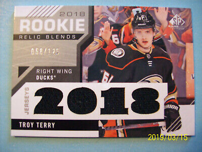 "2018-19 UD (SP Game-Used) ""Rookie Relic Blends"" Jersey # RRB-TT Troy Terry RC!"