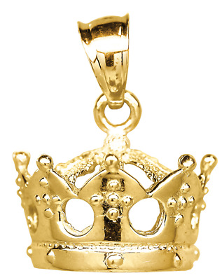 10kt Yellow Gold Polished Unisex Crown Fashion Charm Pendant