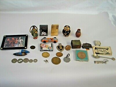 Mixed Lot Junk Drawer Tokens Lighters Watch Pins Military