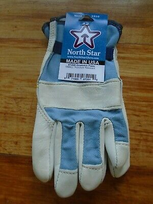 Canvas Back Leather Silver Goatskin Work GLoves Made In the USA 1 Pair