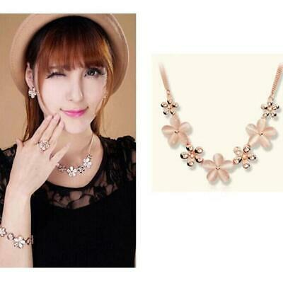 Charm Women Lady Opal Flower Crystal Pendant Neck Chain Necklace Jewelry 6T