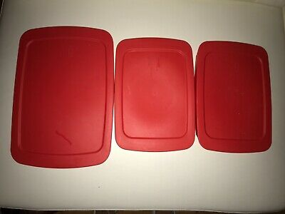 Pyrex red plastic cover lot of 3 size