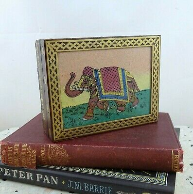 Wooden Brass Trinket / Jewellery Box with Hand Painted Glass Elephant Top