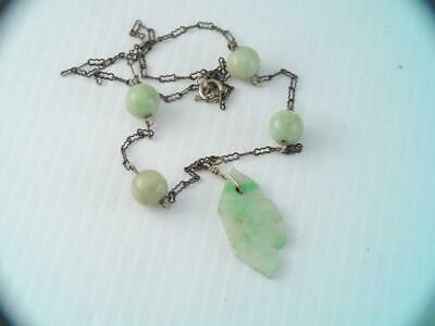 Antique Chinese Carved Apple Green Jade Sterling Silver Necklace