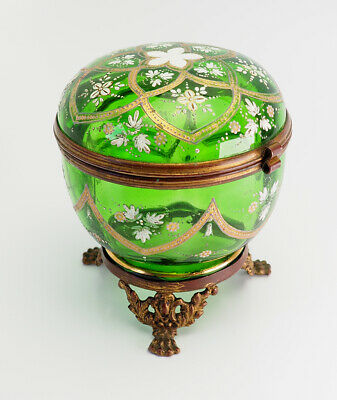 Antique hand painted green Bohemian glass hinged trinket box jar