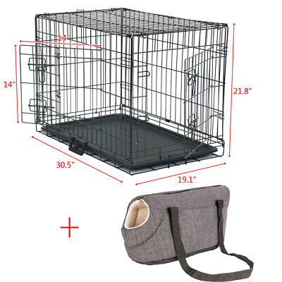"""2 Doors Black 30"""" Pet Folding Suitcase Dog Cat Crate Cage Kennel Pen w/Bag Tray"""