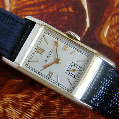 Mens NICE 1940s Jaeger LeCoultre 14K SOLID GOLD Vintage 17j Swiss VXN Tank Watch