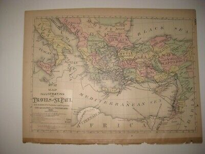 Antique 1883 Travels Of St Paul Christian Israel Handcolored Map Turkey Greece