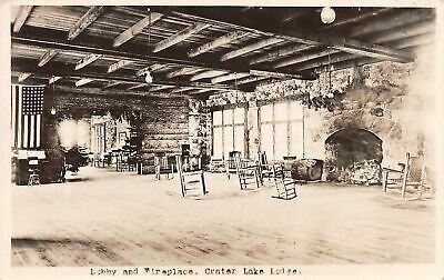C22-1772, Lobby And Fireplace, Crater Lake Lodge, Real Photo Postcard.