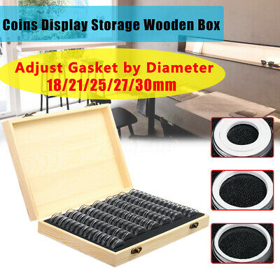 Wooden Collectible Coins Display Storage Box Case + 100 Grids Round Capsule