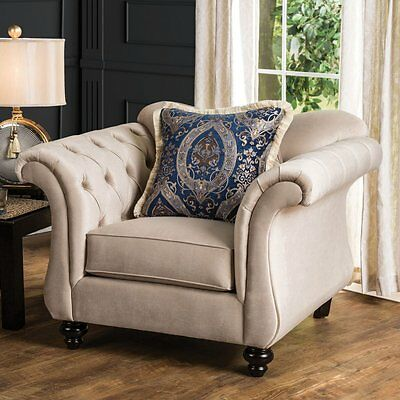 Furniture of America Octavius Chesterfield Club Chair with Pillows, Light Mocha