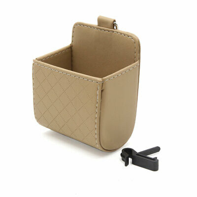 Beige Car Air Vent Outlet Phone Pocket Storage Box Debris Bag Holder Pouch