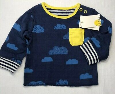 NWT Mini Baby Boden Boys 0-3 3-6 Months Double Sided Reversible Cloud Shirt $28