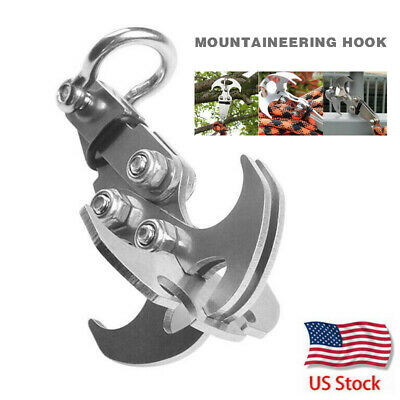 Stainless Steel Gravity Hook Survival Foldable Grappling Climbing Claw Carabiner